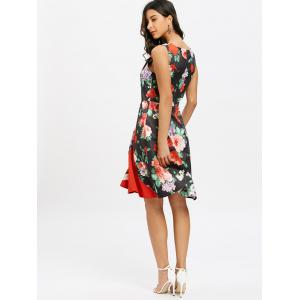 Floral Print Sleeveless A Line Dress -