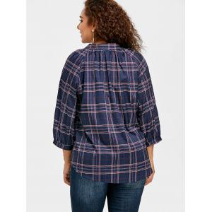 Plus Size Raglan Sleeve Plaid Blouse -