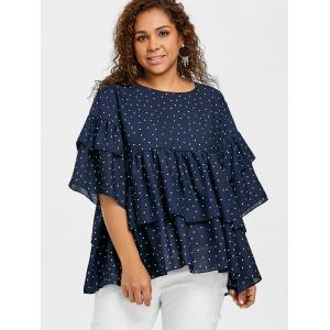 Plus Size Tiered Flounce Polka Dot Blouse -