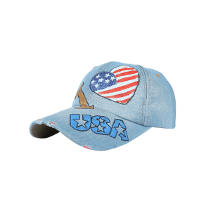 Unique Heart Shaped USA Flag Hand Drawing Baseball Hat -