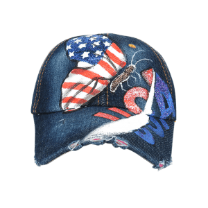 Unique Hand Drawing Butterfly American Flag Baseball Hat -