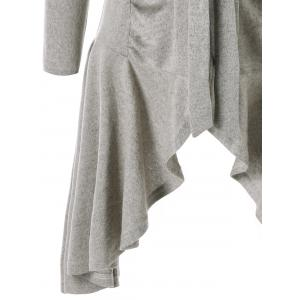 Tie Up Ruched Asymmetric Cardigan -