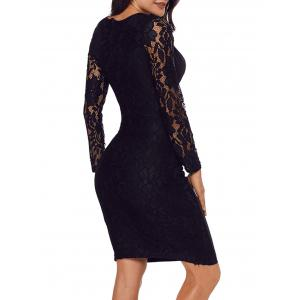 Surplice Neck Lace Panel Bodycon Dress -