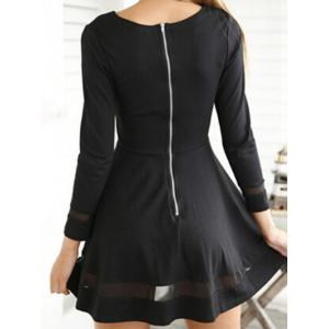 Back Zipper Mesh Panel A Line Dress -