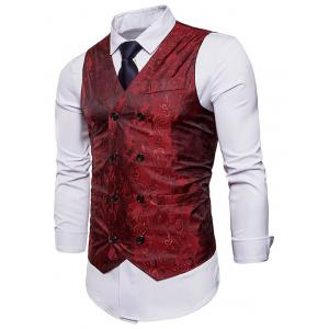 Paisley Print Double Breasted Waistcoat -