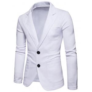 Lapel Collar Cotton Blend Blazer -