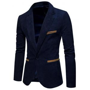 Lapel Collar One Button Corduroy Blazer -