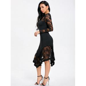 Cut Out Lace Panel Asymmetrical Club Dress -