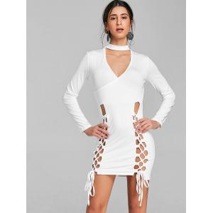 Surplice Neck Lace Up Choker Dress -
