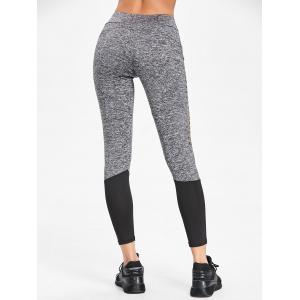 Two Tone Heather Hollow Out Workout Leggings -