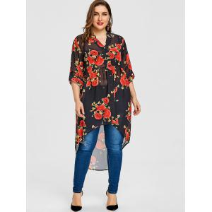 Valentine Rose Print Plus Size High Low Blouse -