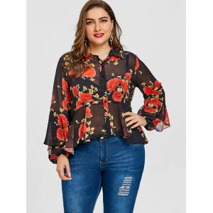 Valentine Plus Size Rose Print Skirted Blouse -