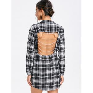Open Back Chains Plaid Shirt Dress -