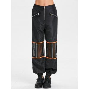 Zipper Fly Mesh Insert Pants -