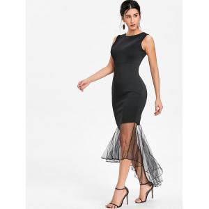 Sleeveless Mesh Panel Mermaid Bodycon Dress -