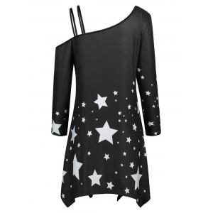 Skew Collar Asymmetric Star Print Dress -