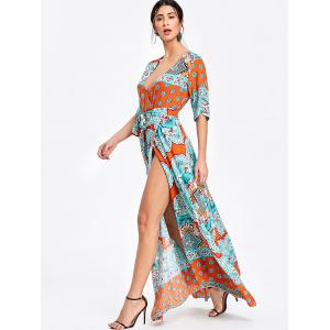 Bohemian Surplice Printed Maxi Slit Dress -