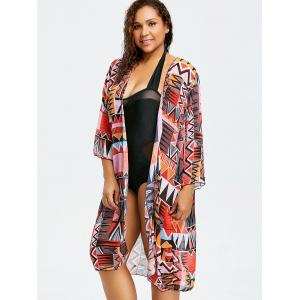 Tribal Long Plus Size Swimsuit Cover Up Kimono -
