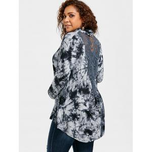 Plus Size Tie Dye Back Hollow Out Cardigan -