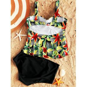 Tropical Flower Moulded Peplum Tankini -