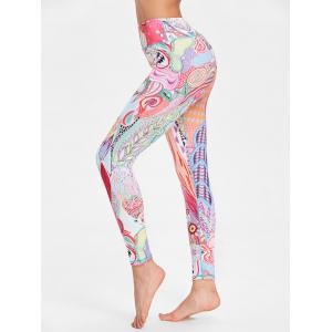 Ethnic Flower Pattern Workout Leggings -