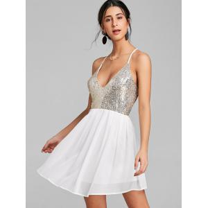 Sequin Backless Chiffon Cami Dress -