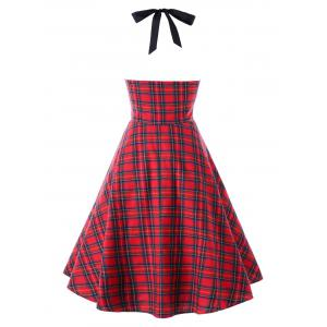 Plus Size Plaid Halter Party Pin Up Dress -