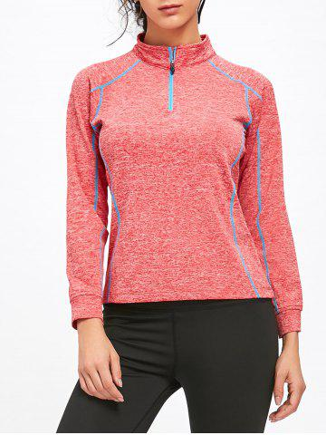 Shops Sports Contrast  Half Zip High Neck T-shirt