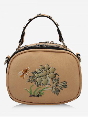 Fashion Studs Bee Flower Print Crossbody Bag