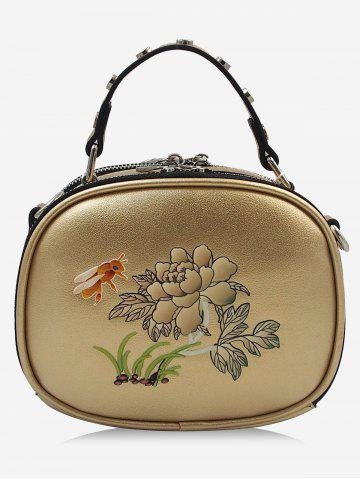 Fancy Studs Bee Flower Print Crossbody Bag