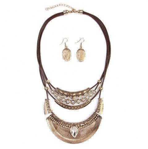 Unique Vintage Ethnic Crescent Moon Pendant Necklace and Earrings