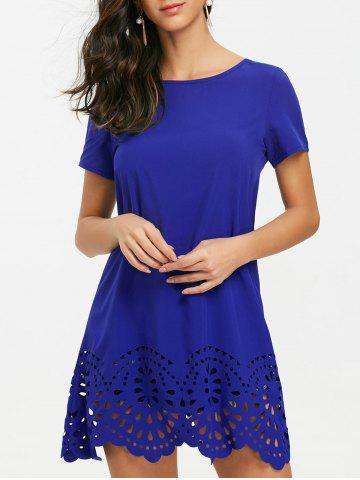 Fashion Hollow Out Hemline Short Sleeve Tee Dress