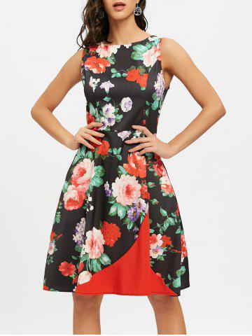 Online Floral Print Sleeveless A Line Dress