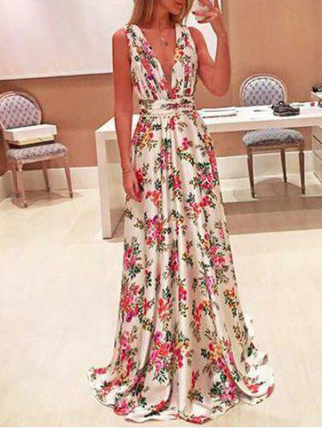 Trendy Plunging Neck Floral Maxi Dress