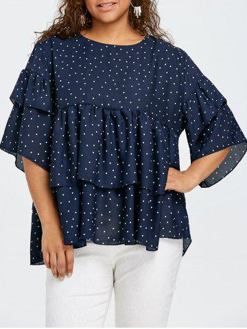 Affordable Plus Size Tiered Flounce Polka Dot Blouse