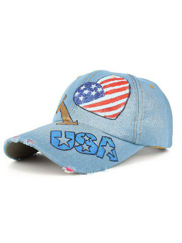 Hot Unique Heart Shaped USA Flag Hand Drawing Baseball Hat