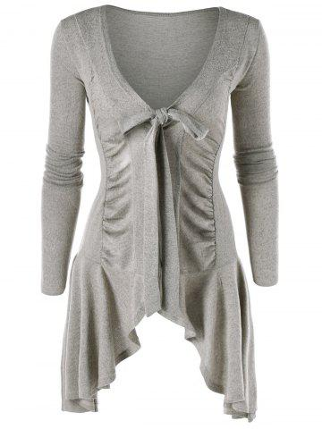 Fashion Tie Up Ruched Asymmetric Cardigan