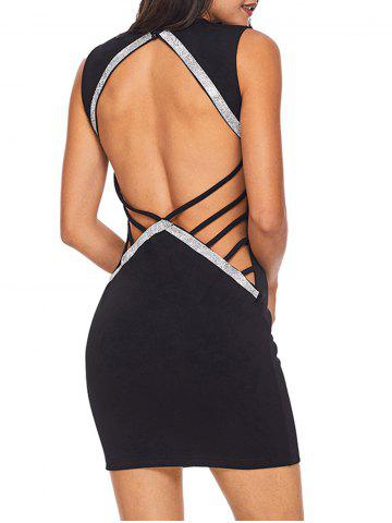 Chic Rhinestone Backless Bodycon Mini Dress