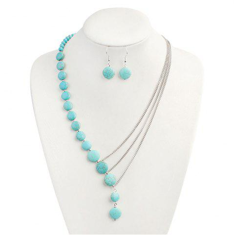 Hot Faux Turquoise Round Earring and Necklace Set