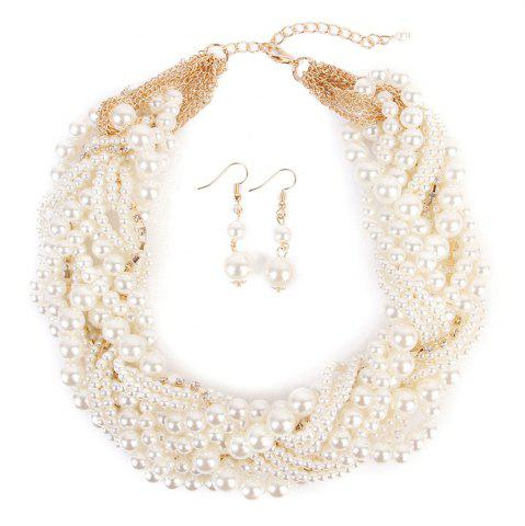 Affordable Chunky Faux Pearl Necklace and Earring Set