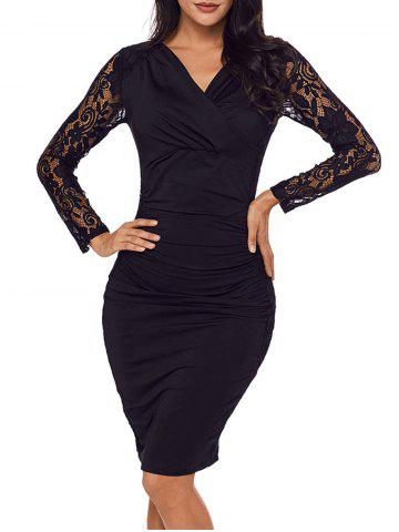 Best Surplice Neck Lace Panel Bodycon Dress