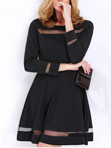 Back Zipper Mesh Panel A Line Dress