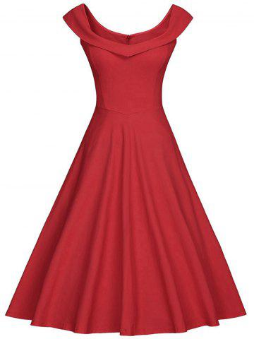 rouge s robe vintage d collet ch rie