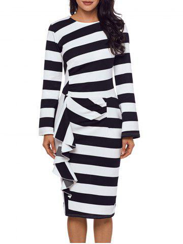 Fashion Ruffle Stripe Long Sleeve Dress