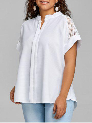 Outfits Plus Size High Low Crochet Blouse