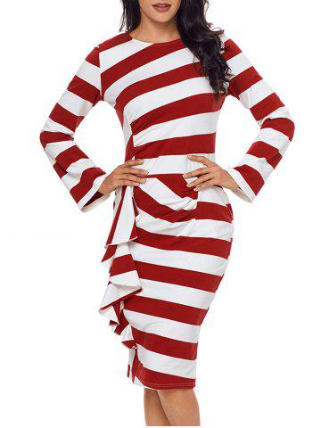 Fancy Ruffle Stripe Long Sleeve Dress