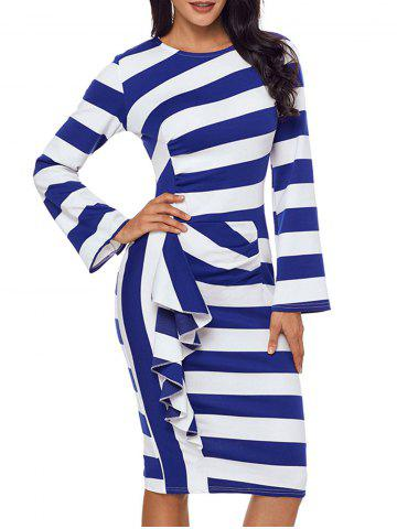Chic Ruffle Stripe Long Sleeve Dress