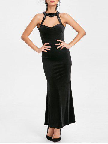 New Beaded Backless Bodycon Maxi Party Dress