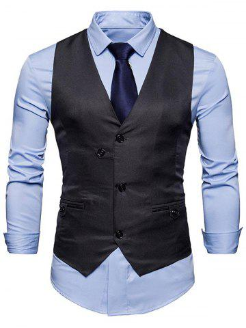 Sale Single Breasted V Neck Plain Waistcoat