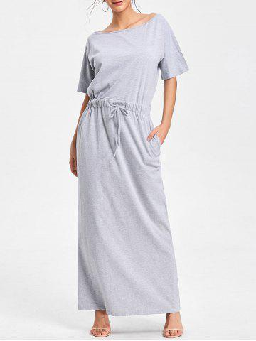 Drawstring Maxi Casual Dress